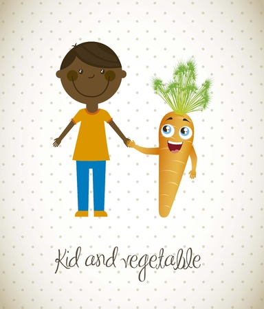 happy boy with carrot vegetable. vector illustration Stock Vector - 16123979