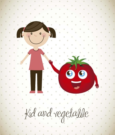 happy girl with tomato vegetable. vector illustration Stock Vector - 16123968