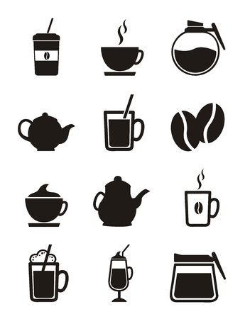 cold coffee: coffee icons isolated over white background. vector