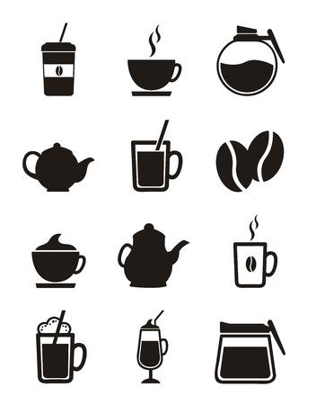 chicchi di caff�: Icone di caff� isolato su sfondo bianco. vettore