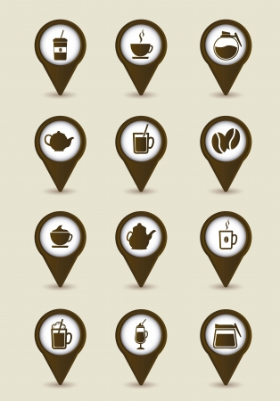 brown coffee icons over beige background. vector Stock Vector - 16123944