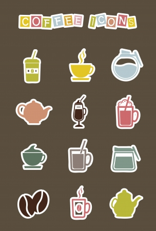 coffee stickers isolated over brown background. vector Vector