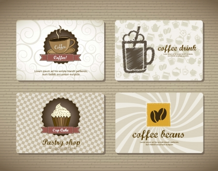cake paper: coffee cards over cardboard texture. vector illustration