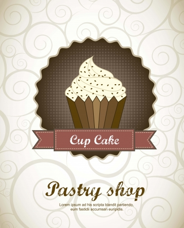 candy shop: pastry shop menu with cup cake . vector illustration