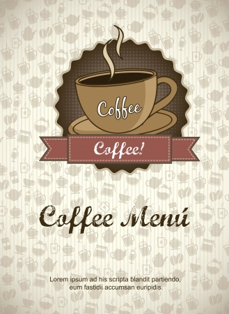 coffee menu over cardboarrd background. vector illustration Vector