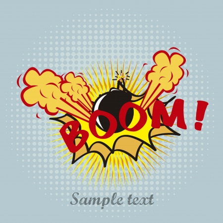boom pop art over blue background. vector illustration Vector