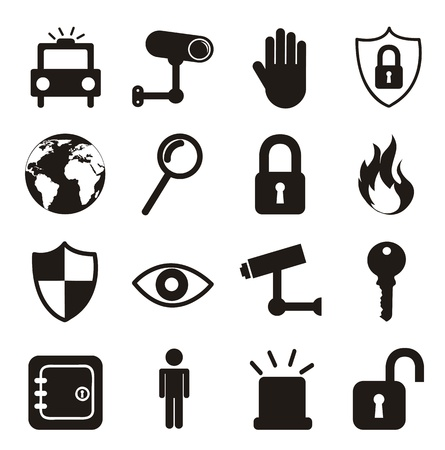 black security icons isolated over white background. vector Vector