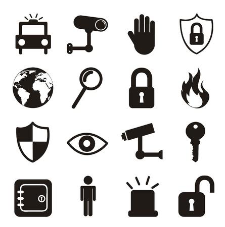 zwarte beveiliging pictogrammen geà ¯ soleerd op een witte achtergrond. vector