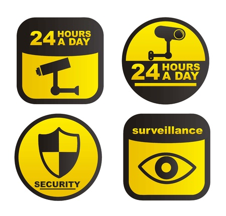 surveillance labels isolated over white background. vector Stock Vector - 16123948