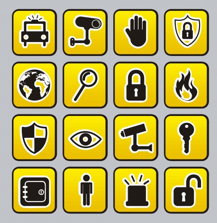 retina scan: yellow security buttons over gray  background. vector