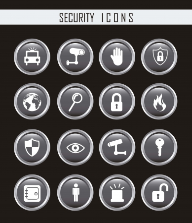 gray security icons isolated over black background. vector Stock Vector - 16123962