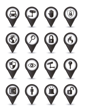 black security icons isolated over white background. vector Stock Vector - 16123958
