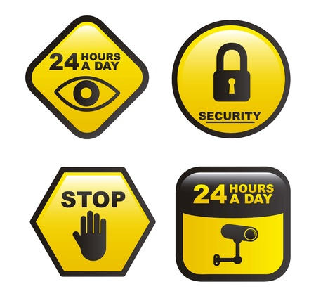 surveillance labels isolated over white background. vector Vector
