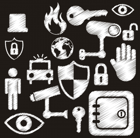 retina scan: white security icons isolated over black background. vector Illustration