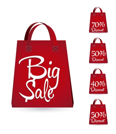 sale bags with discounts over white background. vector