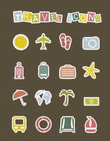cute vacation  icons  over brown background. vector Stock Vector - 16124619