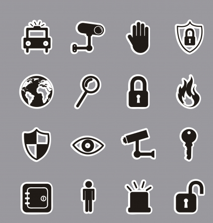 retina scan: black security icons over gray background. vector