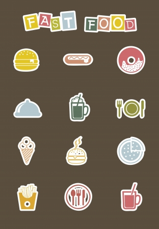 cute fast food icons over brown background. vector Stock Vector - 16123978