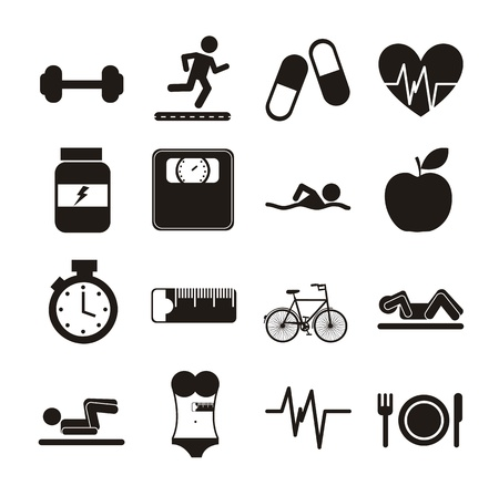 black fitness icons over white background. vector illustration Stock Vector - 16287368