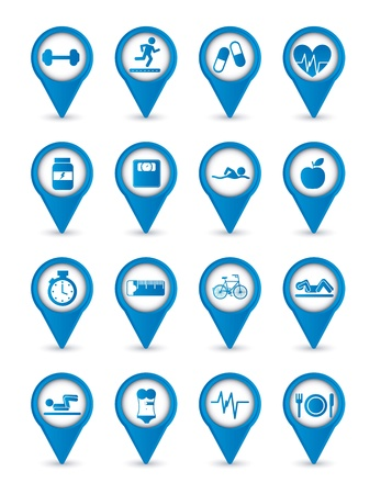 exercise machine: blue fitness icons over white background. vector illustration Illustration