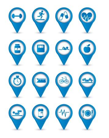 exercise machine: blue fitness icons over white background. vector illustration Illustration