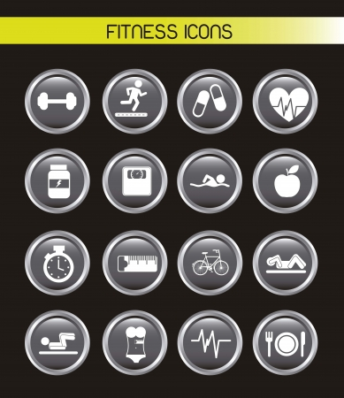 black icons: fitness buttons over black background. vector illustration