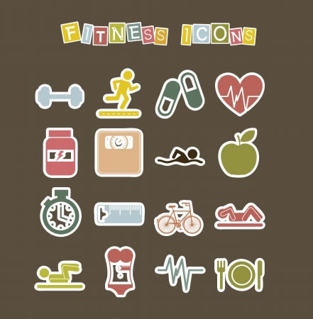 cute fitness icons over  brown background. vector illustration Stock Vector - 16287708