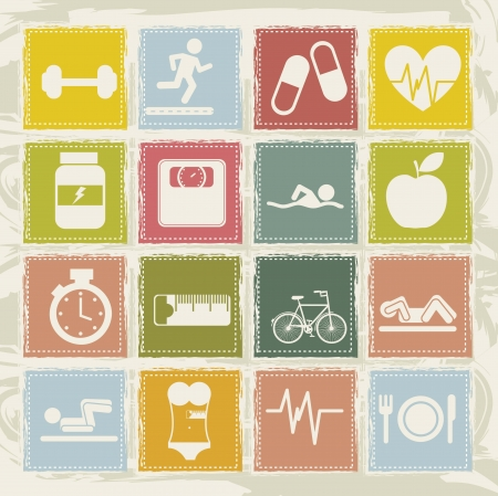 cute  fitness icons over beige background. vector illustration Stock Vector - 16288721