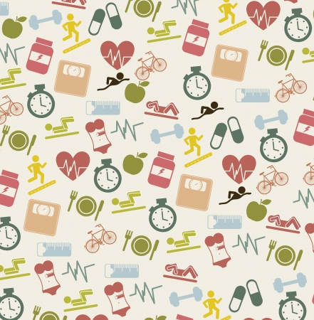 cute fitness icons over beige background. vector illustration Stock Vector - 16287435