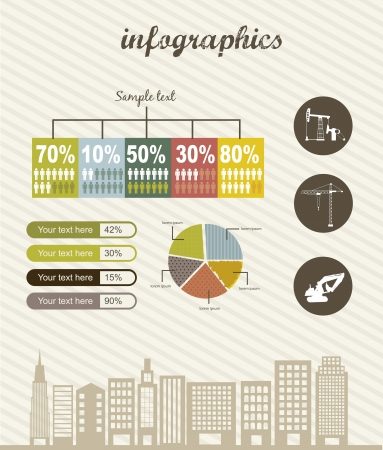 infographics with city, vintage style. vector illustration Vector