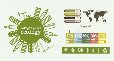 infographics ecology with buildings, vintage style. vector illustration Stock Vector - 16287437