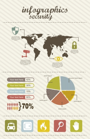 infographics of security, vintage style. vector illustration Vector