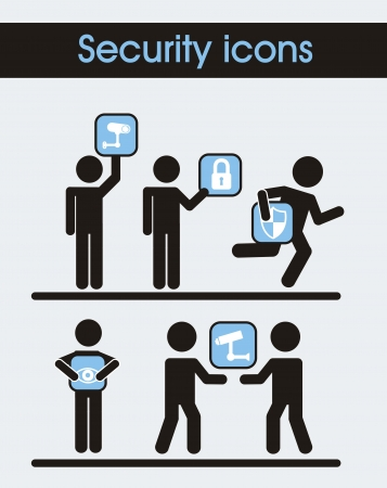 defend: man sign with security icons. vector illustration