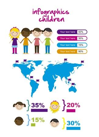 infographics of children, vintage style. vector illustration Stock Vector - 16287403