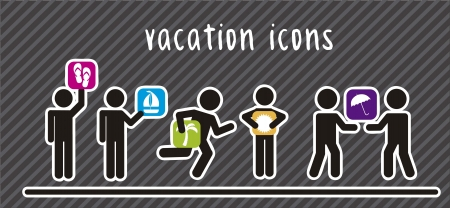 colorful vacation  icons with men sign. vector illustration Vector