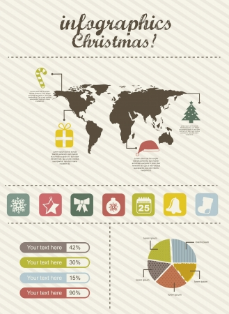 infographics christmas, vintage style. vector illustration Stock Vector - 16287953