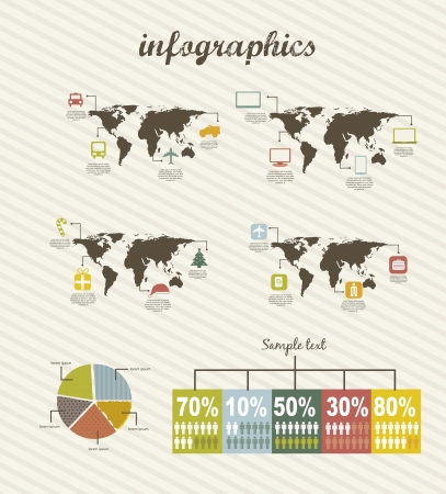 infographics with icons, vintage style. vector illustration Stock Vector - 16290285