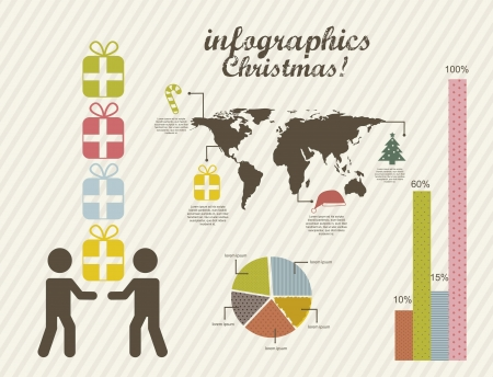 infographics of christmas, vintage style. vector illustration Vector