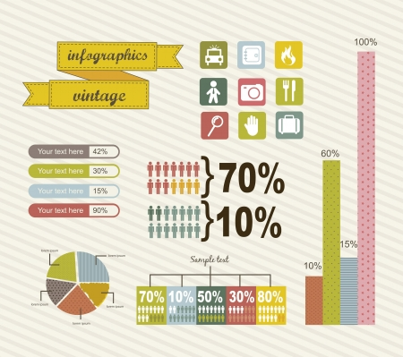 growth rate: infographics with bar, vintage style. vector illustration Illustration