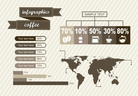 infographics of coffee, vintage style. vector illustration Stock Vector - 16287451