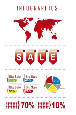 infographics of sale over white background. vector illustration