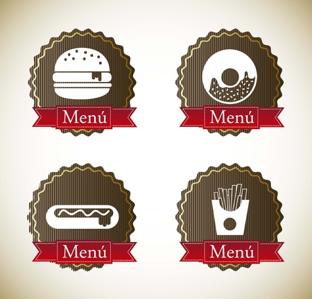 food labels over vintage background. vector illustration Vector
