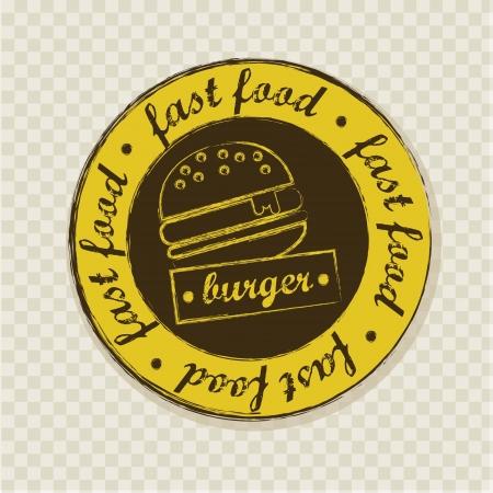sesame seed: burger label over squares background. vector illustration Illustration