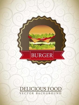 flayer: burger label over ornament background. vector illustration Illustration