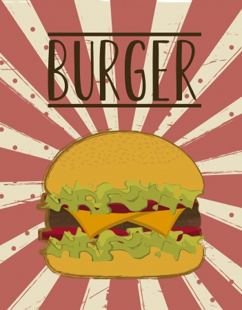 burger over grunge background. vector illustration Vector