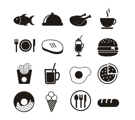 black food icons over white background. vector Stock Vector - 16287354