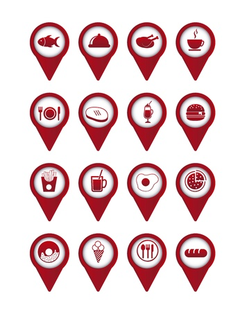 red food icons over white background. vector  Stock Vector - 16287355