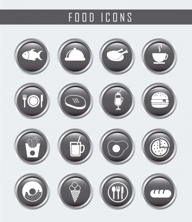 gray food icons over gray background. vector Stock Vector - 16287408