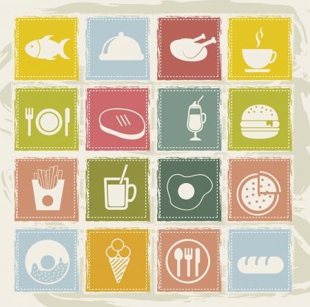 burger with fries: vintage food icons over grunge background. vector  Illustration