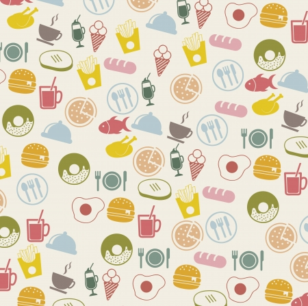vintage food icons over beige background. vector Stock Vector - 16287433